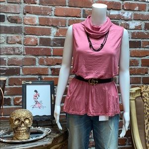 BiBi Tops - Mauve Cowl Neck Top w/ Hidden Face Mask